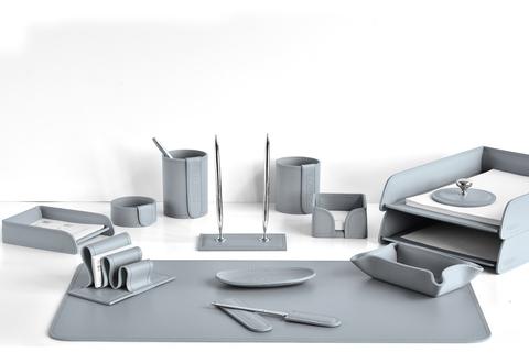 Настольный офисный набор 14 предметов из кожи, цвет серый