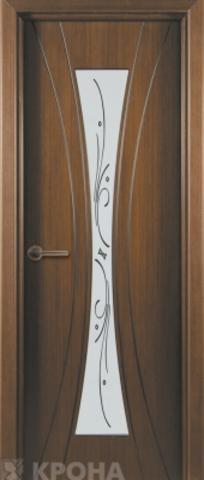 Дверь Крона Эстет, стекло матовое с шелкографией, цвет орех, остекленная