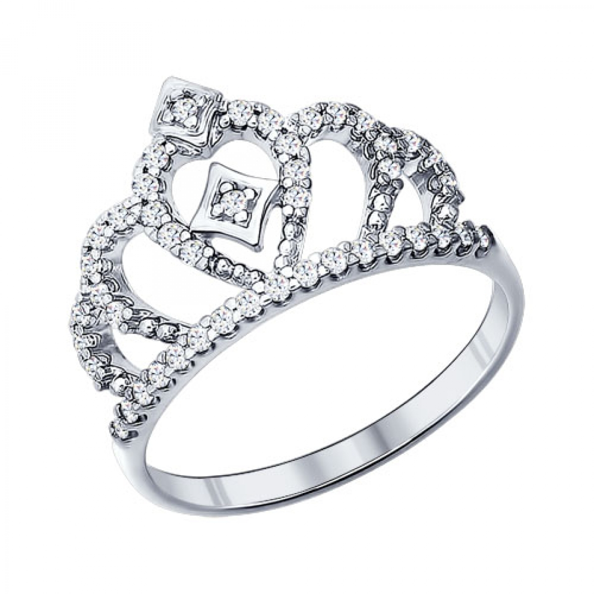 Серебряное кольцо в виде диадемы с фианитами