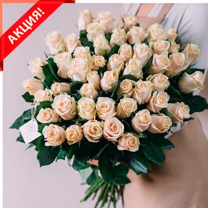 Букет 51 кремовая роза Талеа акция
