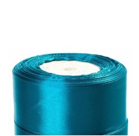 Лента атласная (размер:40мм х 25 ярдов) Цвет:бирюзово-синий
