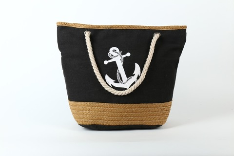 Пляжная сумка с якорем (черная)