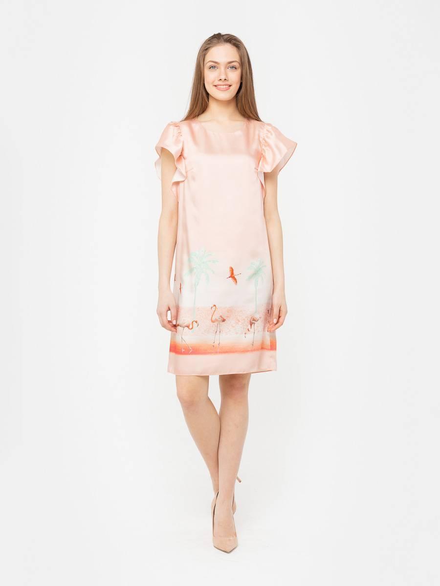 Платье З191а-733 - Отличное платье, свободного кроя выглядит невероятно удобным. В плечевые швы вшиты широкие воланы. Просторное платье практически не ощущается на теле. Подкладка яркого салатового цвета, смотрится стильно и необычно.
