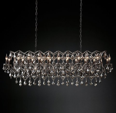 Подвесной светильник копия 19th C. Rococo Iron & Smoke Crystal Rectangular Chandelier 63