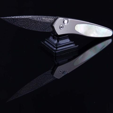 Автоматический нож Pro-Tech модель Custom Newport Gold Lip MOP