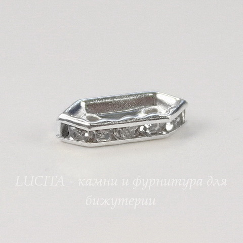Разделитель на 2 нити с прозрачными стразами 11х4,5х2,5 мм (цвет - серебро)