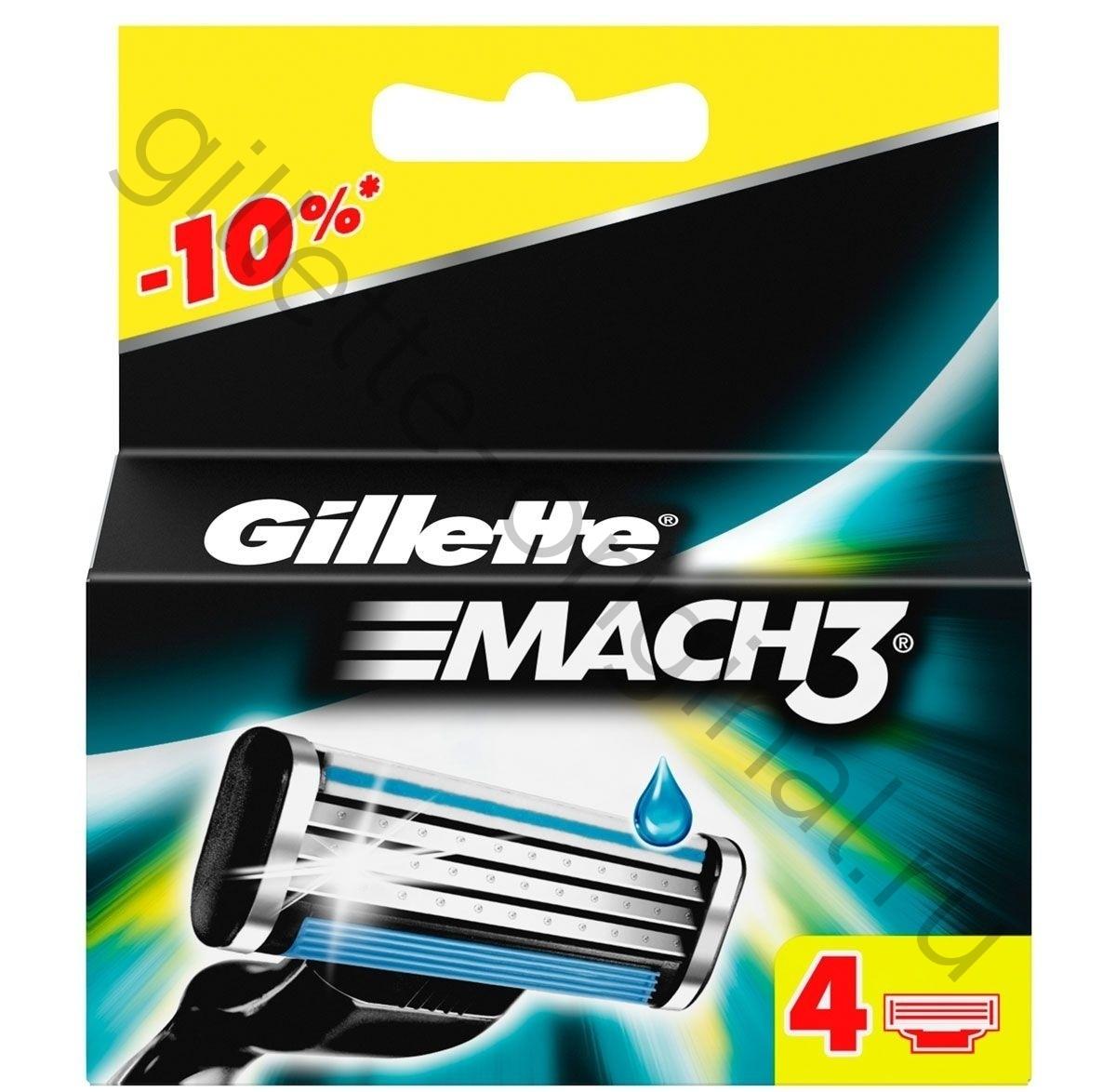 Лезвия для бритья Gillette mach3 4 шт.