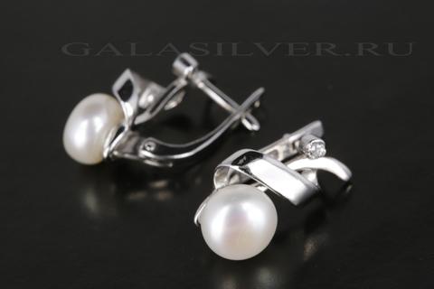 Серьги с жемчугом и фианитом из серебра 925