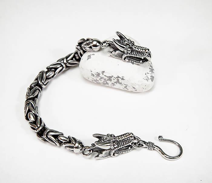 BM580 Мужской браслет с драконами из стали (21,5 см) фото 02