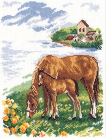 Лошадки¶Размер: 22х26 см ¶Кол-во цветов: 23