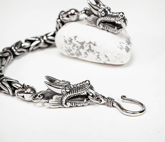 BM580 Мужской браслет с драконами из стали (21,5 см) фото 03