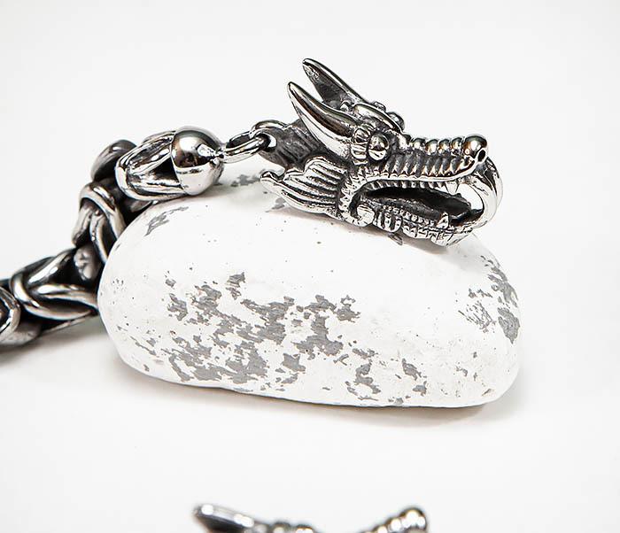 BM580 Мужской браслет с драконами из стали (21,5 см) фото 04