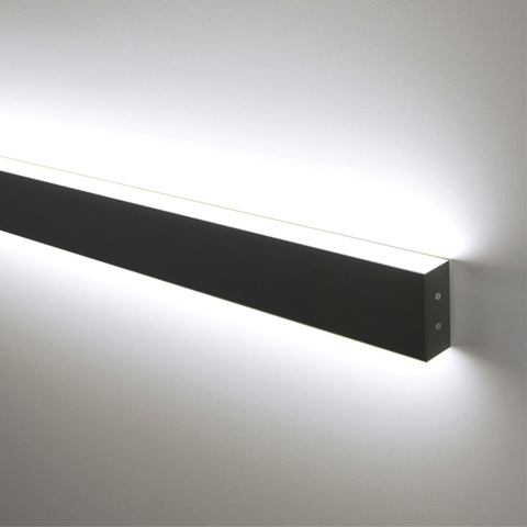 Линейный светодиодный накладной двусторонний светильник 78см 30Вт 4200К черная шагрень 101-100-40-78