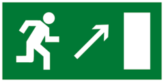Е05 Эвакуационный знак - Направление к эвакуационному выходу направо вверх