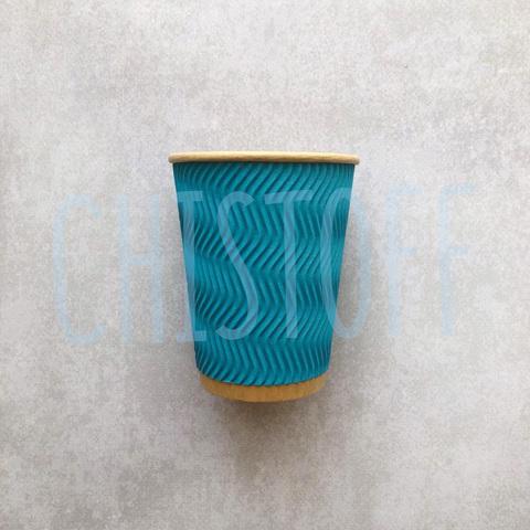 Гофрированный стакан Ripple Wave Eco Craft  250 мл голубой d81 (30 шт.)