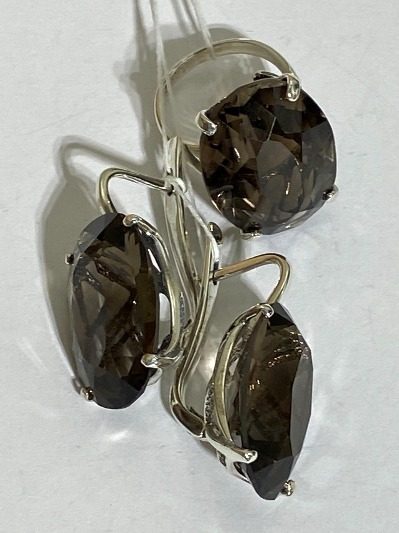 Озеро (кольцо + серьги из серебра)