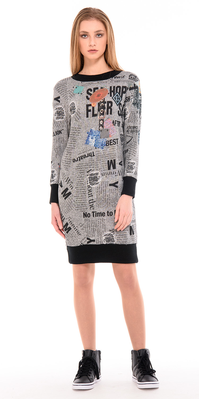 Платье З232-647 - Платье-свитшот в стиле спорт-шик из хлопкового трикотажа-футера. Отделка - трикотажные резинки контрастного цвета. Хорошо смотрится с плотными колготками, леггинсами и узкими брюками. Трикотаж мягкий, пластичный, очень приятный телу (не тонкий). Спускное плечо, пройма расширенная, объем комфортный.
