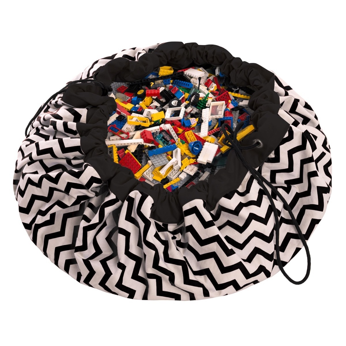 Коврик-мешок для игрушек Play&Go. Коллекция Print. Чёрный зигзаг