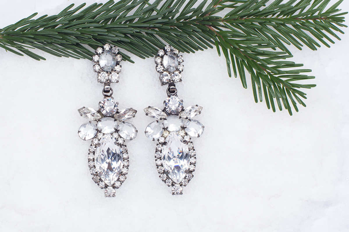 Large earclips with crystals by Alan Anderson.