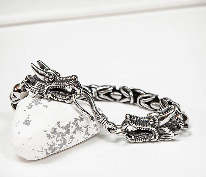 BM580 Мужской браслет с драконами из стали (21,5 см) фото 09