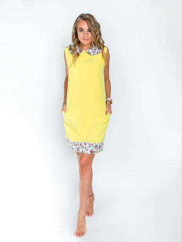 Платье желтое с белым цветочным воротником