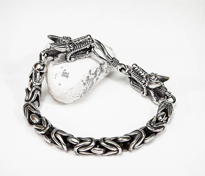 BM580 Мужской браслет с драконами из стали (21,5 см) фото 10