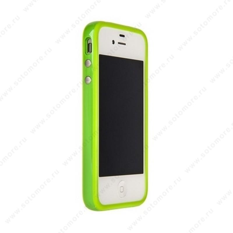Бампер для Apple iPhone 4s/ 4 Bumper, цветное яблоко на упаковке, салатовый