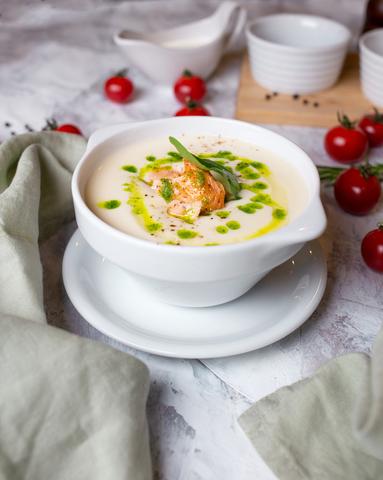 Овощной крем суп с красной рыбой