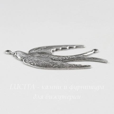 """Винтажный декоративный элемент - коннектор """"Птица"""" (1-1) 41х18 мм (оксид серебра)"""