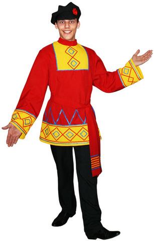 Русская рубаха с поясом красная