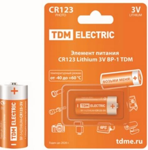 Элемент питания CR123 Lithium 3V BP-1 TDM