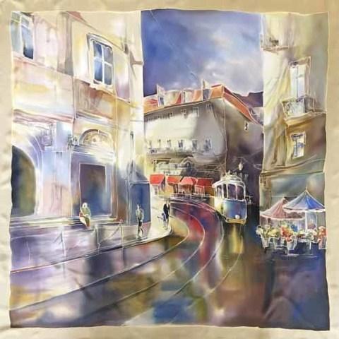 Шёлковый платок Лиссабон утром С-60