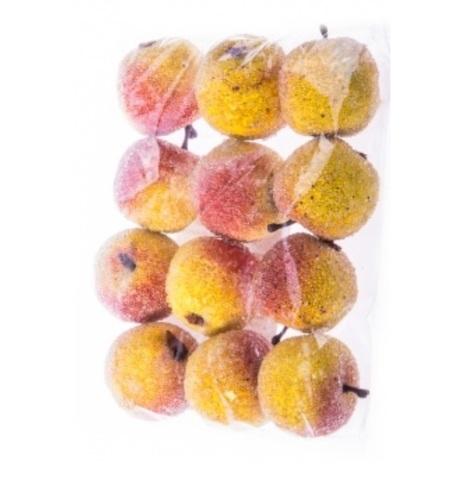 Набор яблок искусственных засахаренных 2,5 см, 12 шт., красный/желтый