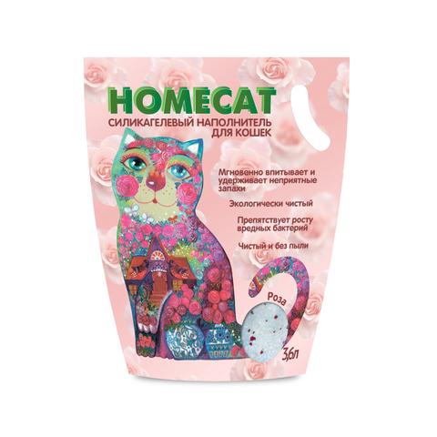 HOMECAT Роза силикагелевый наполнитель для кошачьих туалетов с ароматом розы 3,8л