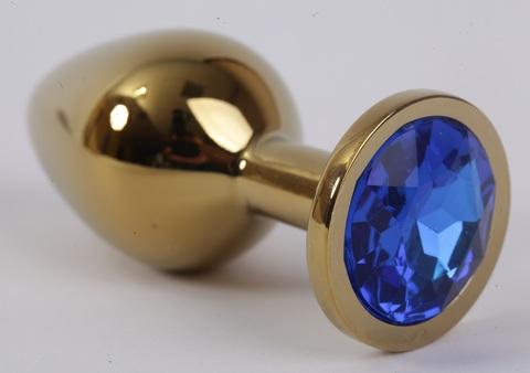 Анальная пробка золото с синим стразом 3,4х8,2, сталь