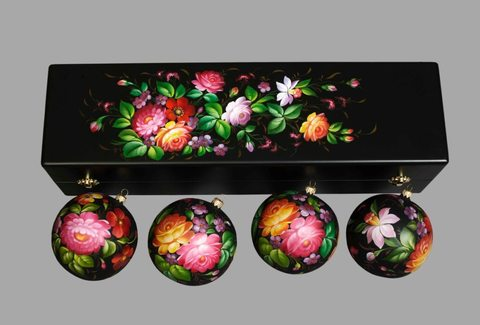 Набор из 4 елочных шаров в шкатулке SET04D-667785815