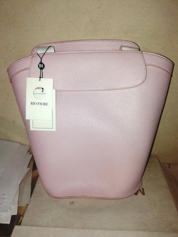 Розовая сумка-рюкзак с текстильными ремнями