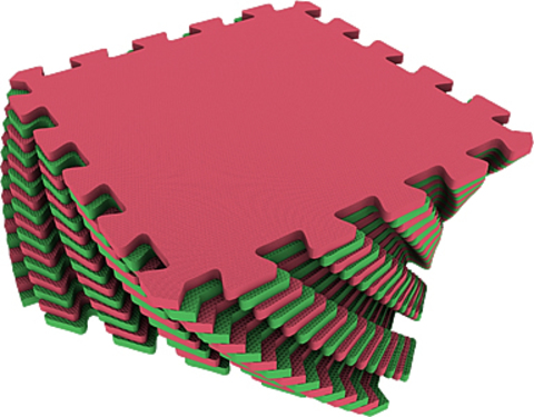 Набор мягких плиток 25*25. Красно-зелёный. Коврики-пазлы.