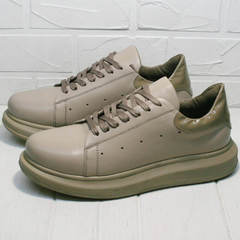 Спортивные туфли кроссовки женские кожаные Markos 1523 All Beige.
