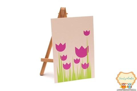 Открытка розовые тюльпаны