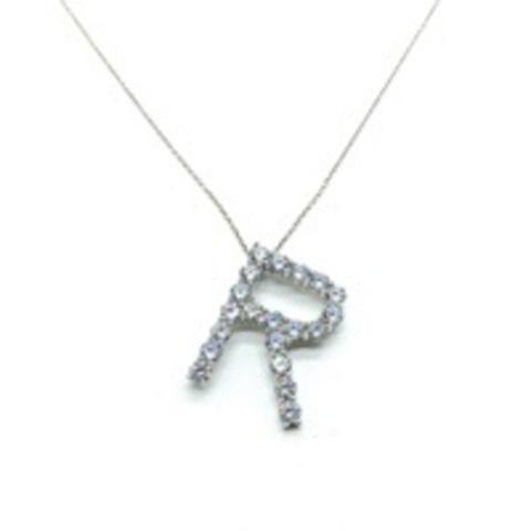 Подвеска из серебра с цирконами буква R