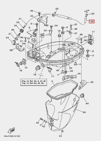 Трубка водяного охлаждения для лодочного мотора F20 Sea-PRO (15-22)