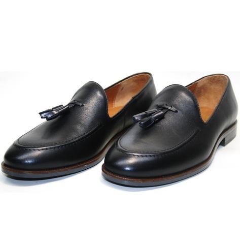 Мужские туфли лоферы классические. Тассел лоферы Ikoc-BlacK.