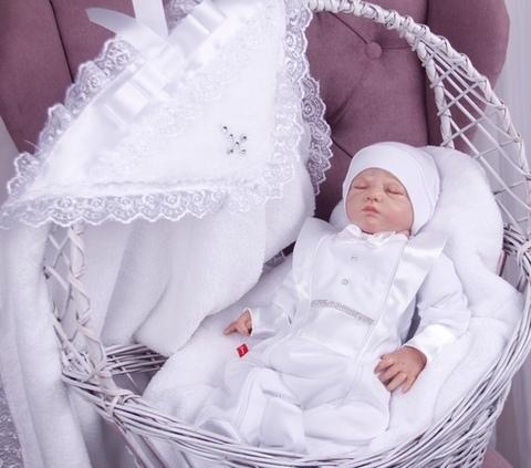 Комплект для крещения: крыжма Бантик + Фрак белый