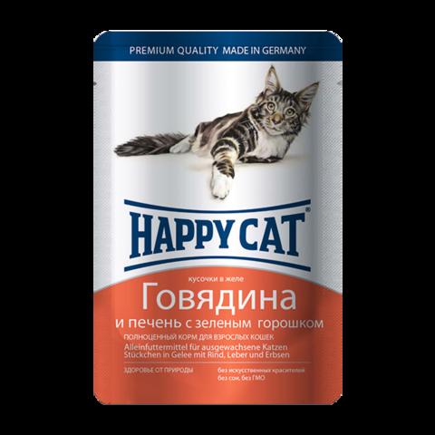 Happy Cat Консервы для кошек с говядиной, печенью и горохом в желе (пауч)