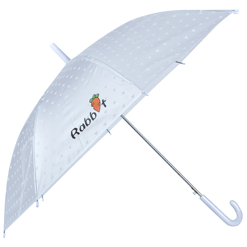 Полуавтоматический зонт-трость с куполом белый с надписью Rabbit зайка