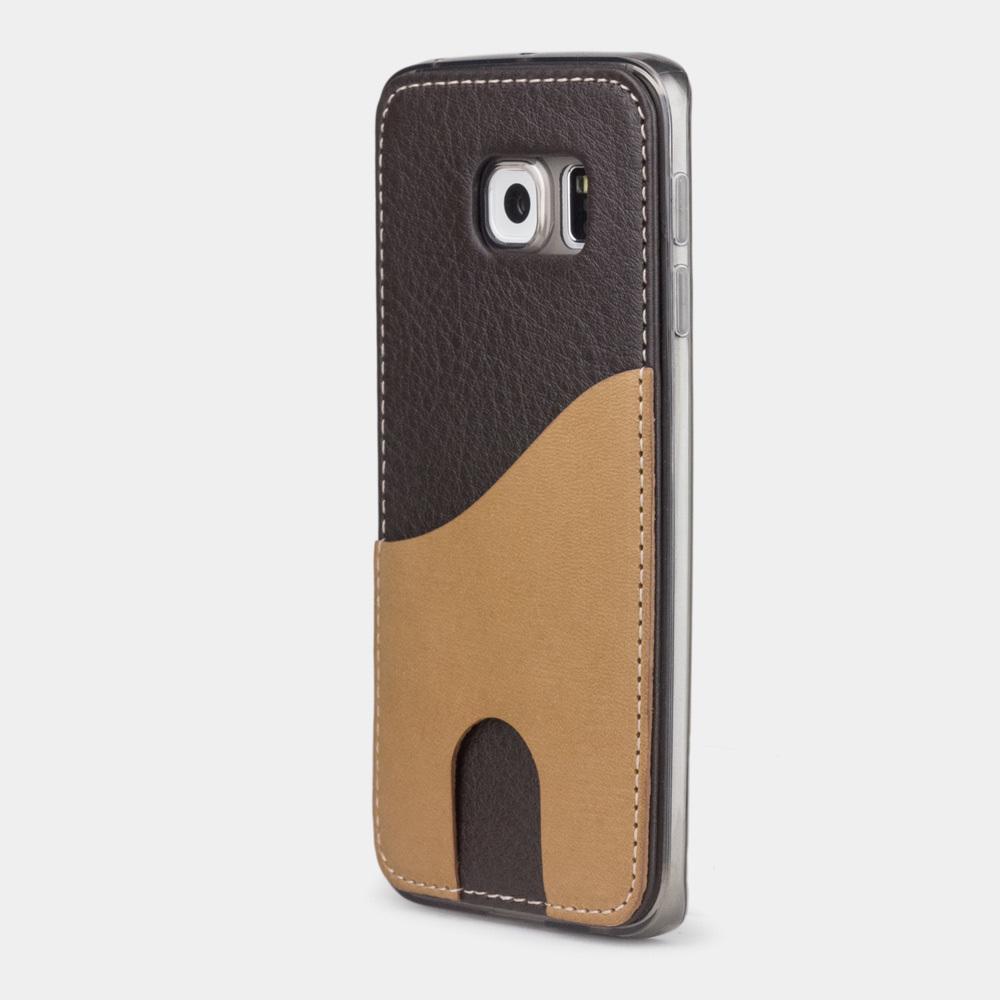 Чехол-накладка Andre для Samsung S6 edge из натуральной кожи теленка, темно-коричневого цвета