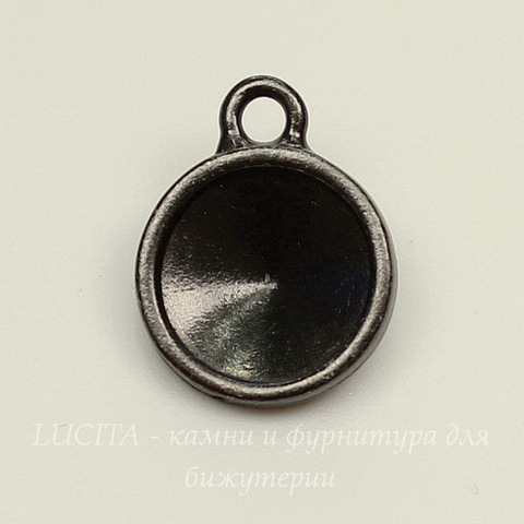 """Сеттинг - основа - подвеска TierraCast """"Грани"""" для страза 10 мм (цвет-черный никель)"""