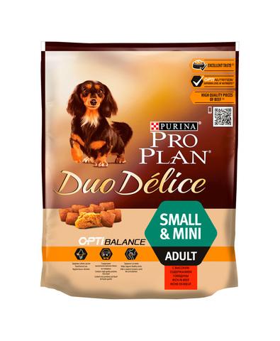 Pro Plan DUO DELICE сухой корм для взрослых собак мелких пород (говядина, рис) 700 г