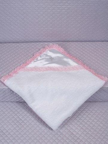 Крыжма для крещения махровая розовая